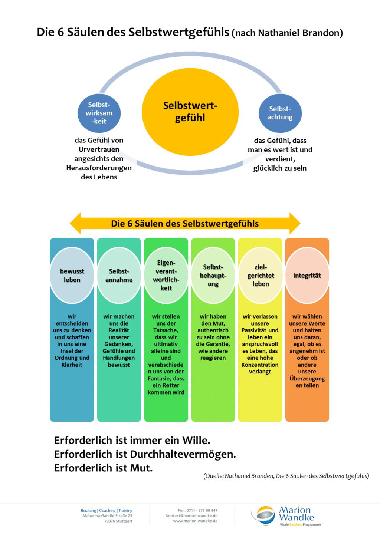 Infografik: Die 6 Säulen des Selbstwertgefühls (Nathaniel Brandon)
